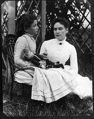 Helen Keller with teacher Anne Sullivan (herself deaf and blind) 1888