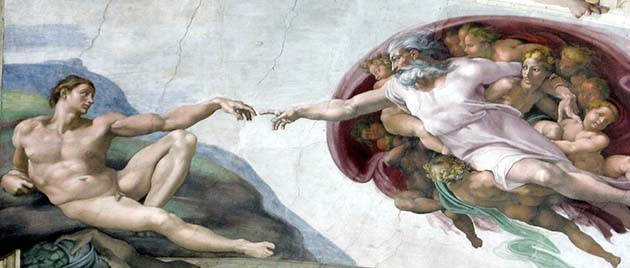 The Creation of Man by Michaelangelo (Sistine Chapel). Comparea and contrast...